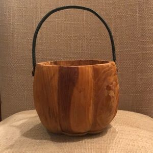 Pumpkin Shaped wood container